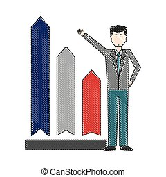 businessman with chart arrow up financial