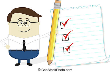 businessman with check list