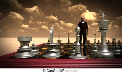 Businessman with chess board. Brainstorming concept -...