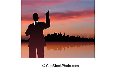businessman with city and sunset internet background