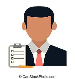 Businessman with clipboard and pencil