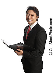 Businessman with clipboard smiling