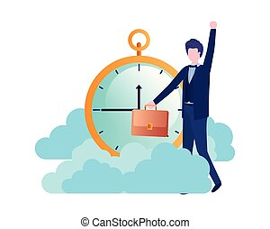 businessman with clock avatar character