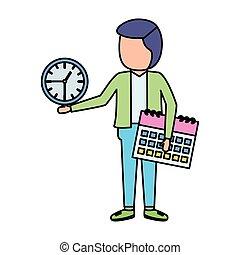 businessman with clock calendar