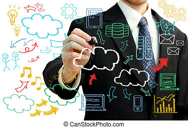 Businessman with cloud computing themed pictures -...