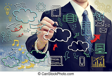 Businessman with cloud computing themed pictures - ...