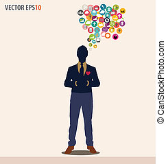 Businessman with cloud of colorful application. Vector illustration.