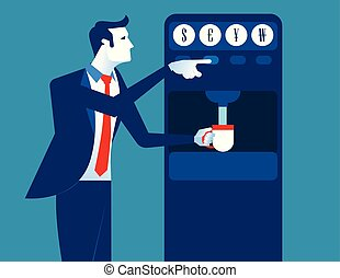 Businessman with coin dispenser machine. Concept business illustration. Vector flat.