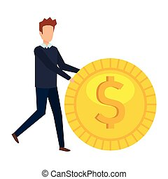 businessman with coin money