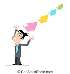 Businessman with Colorful Arrows