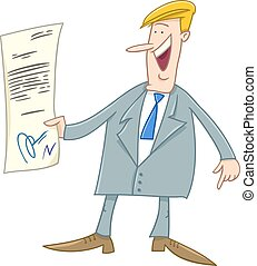 businessman with contract cartoon