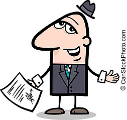 businessman with contract cartoon - Cartoon Illustration of...