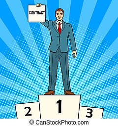Businessman with contract pop art vector