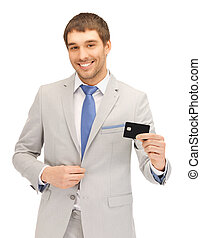 businessman with credit card - bright picture of happy...
