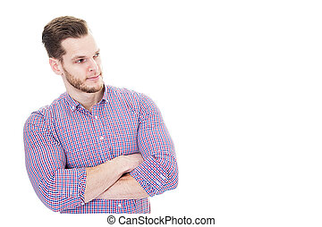 Businessman with crossed arms and beard isolated on white background. Sideview