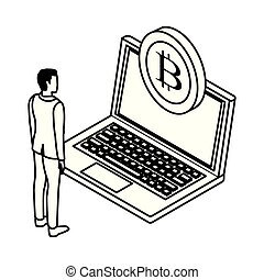 businessman with cryptocurrency black and white