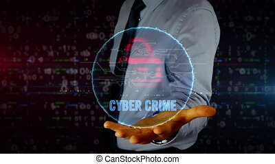 Businessman with cyber attack and skull hologram - Man with...