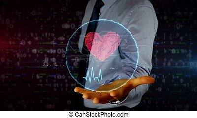 Businessman with cyber heart and love hologram - Man with...