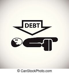 Businessman with debt on white background