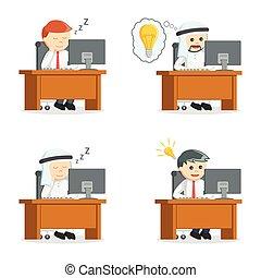 businessman with deskjob set