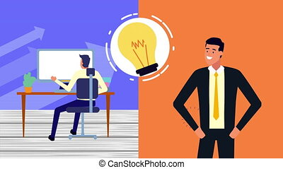businessman with desktop and money animation