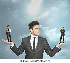 Businessman with devil and angel - Businessman must choose ...