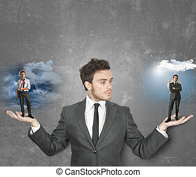 Businessman with devil or angel - Businessman must choose ...