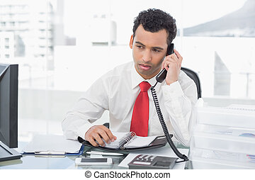 Businessman with diary using land line phone at office