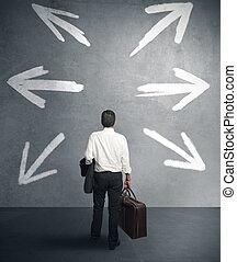 Businessman with different destinations - businessman must...