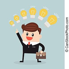 Businessman with different sizes of idea