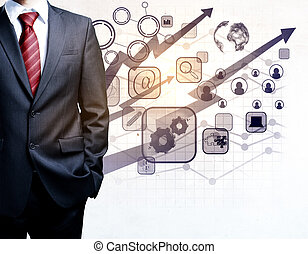 Businessman with digital business charts