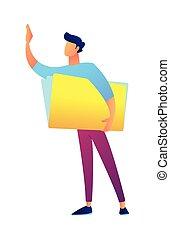 Businessman with document folder vector illustration. Office...
