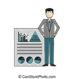 businessman with document report statistics diagram
