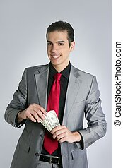 Businessman with dollar notes suit and tie