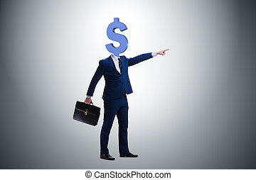 Businessman with dollar sign instead of head