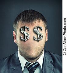 Businessman with dollar symbols
