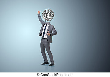Businessman with dollars instead of head