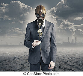 businessman with dried rose: concept polluted environment
