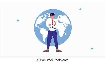 businessman with earth planet animation