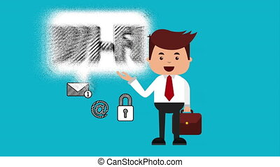 businessman with ecommerce technology animation