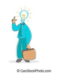 businessman with electric bulb head