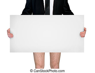 Businessman with empty board