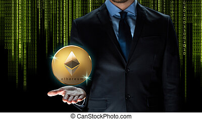 businessman with ethereum coin over binary code - ...