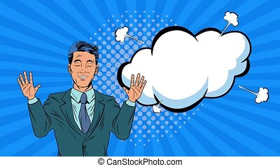 businessman with expression bubble pop art animation