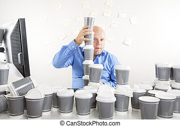 Businessman with extreme coffee addiction