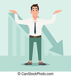 Businessman with falling down chart is confused