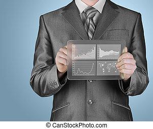 businessman with financial symbols