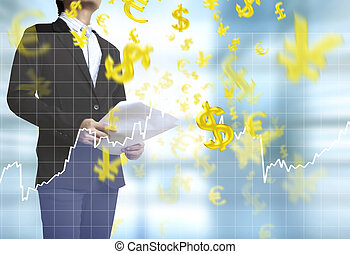 Businessman with financial symbols
