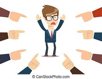 businessman with fingers pointing at him - Illustration of...