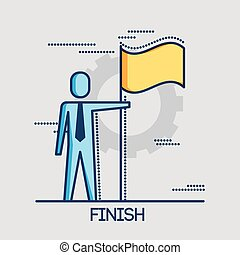 businessman with finish flag achieving goal thin line design
